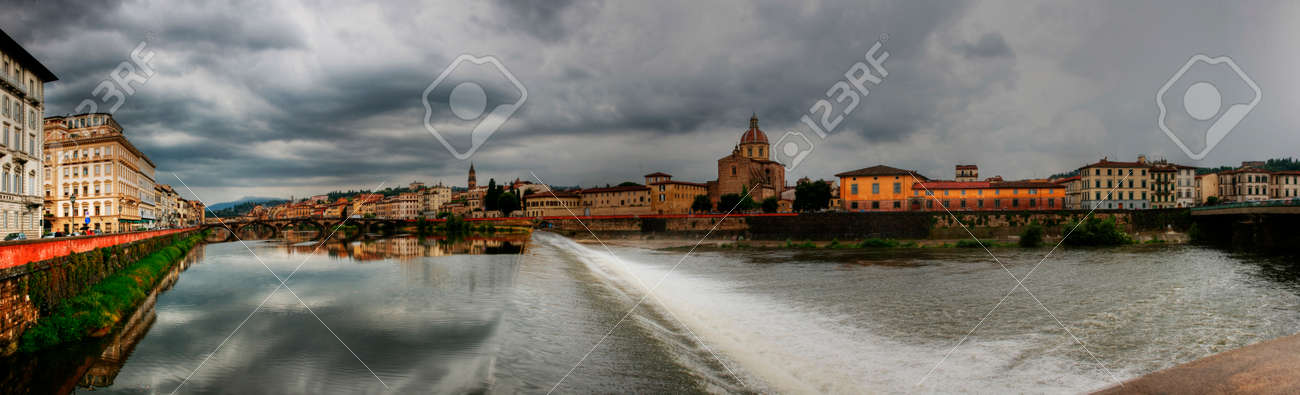 Panorama of the Arno River, Florence, Italy.Dam. - 142552551