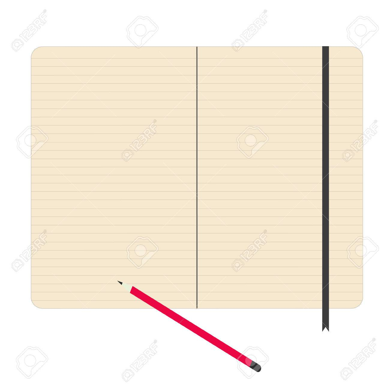Notebook Paper With Pencil Vector Illustration Royalty Free Cliparts
