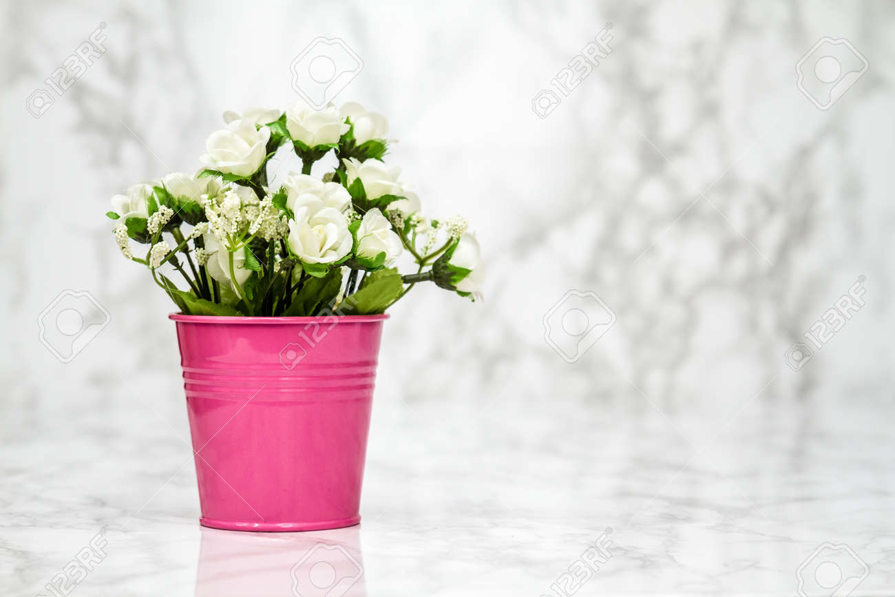 Small decorative artificial white flowers in pink pot stock photo small decorative artificial white flowers in pink pot stock photo 57868055 mightylinksfo