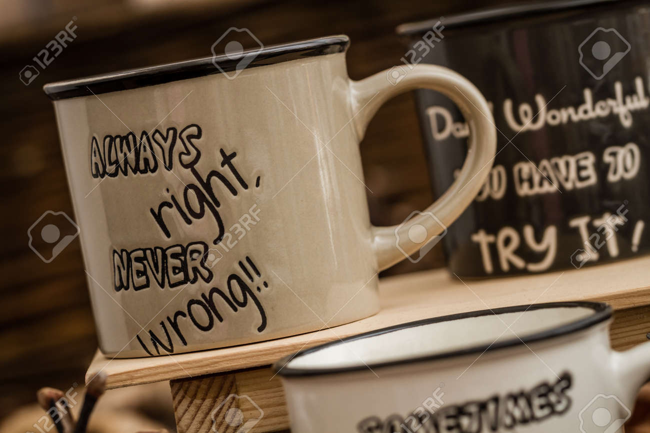 A Coffee Text On Mugs By Leaves Creative Background With Created mnwv0yON8
