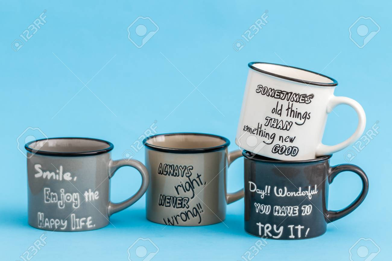 Creative Cute Coffee Mugs On Blue Background Stock Photo Picture And Royalty Free Image Image 69826484