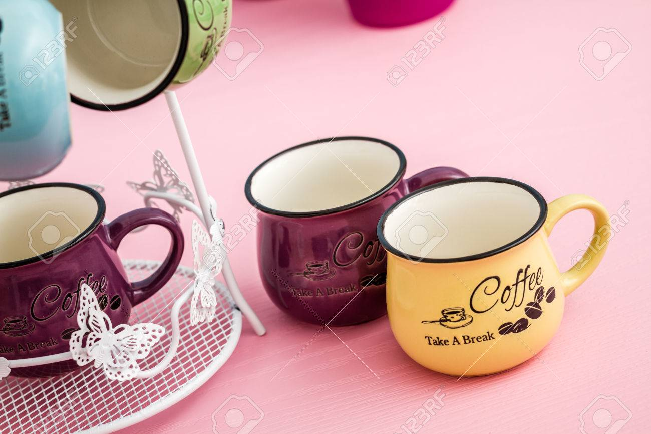 Creative Cute Coffee Mugs On Blue Pink Background Stock Photo Picture And Royalty Free Image Image 70309749