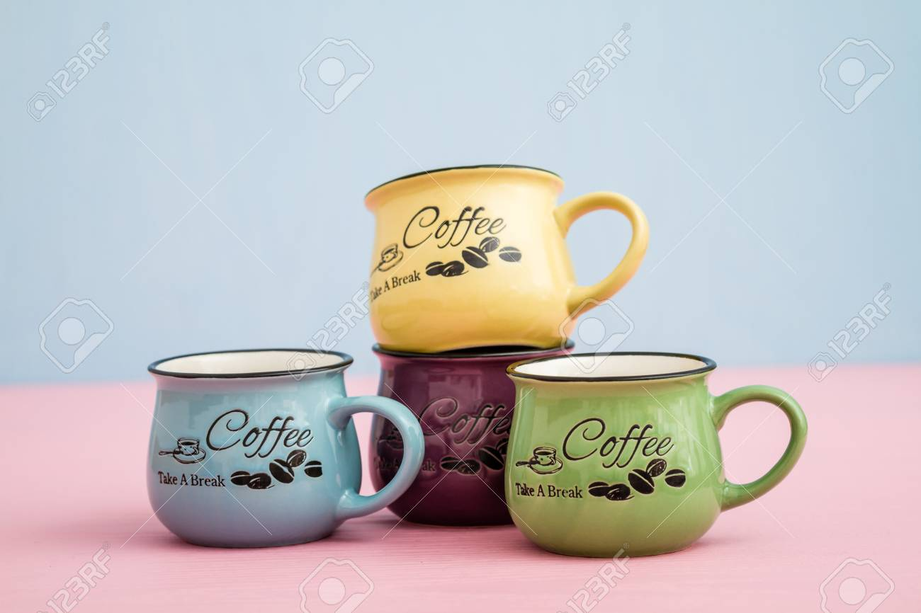 Creative Cute Coffee Mugs On Blue Pink Background Stock Photo Picture And Royalty Free Image Image 70320338