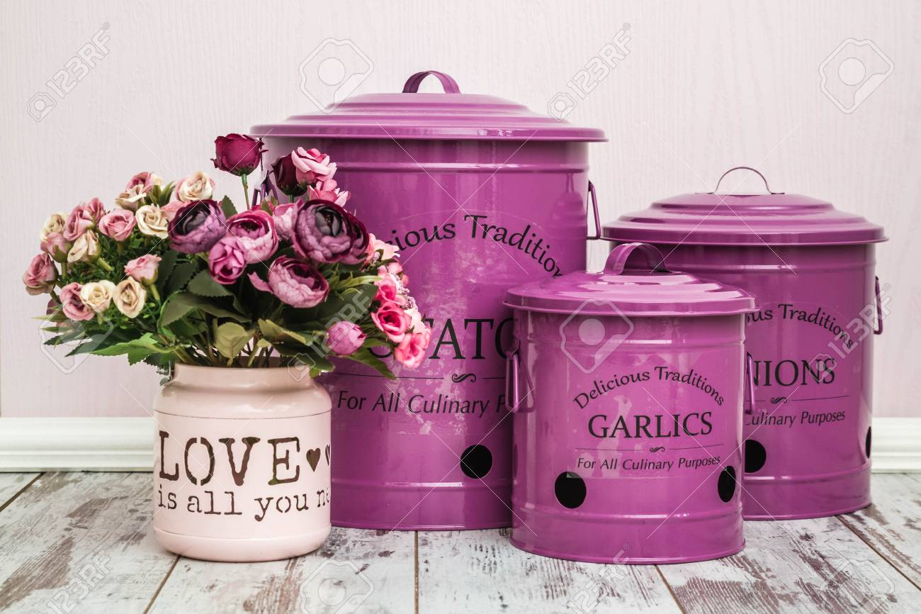 Vintage Purple Potato Onion And Garlic Storage Containers Stock