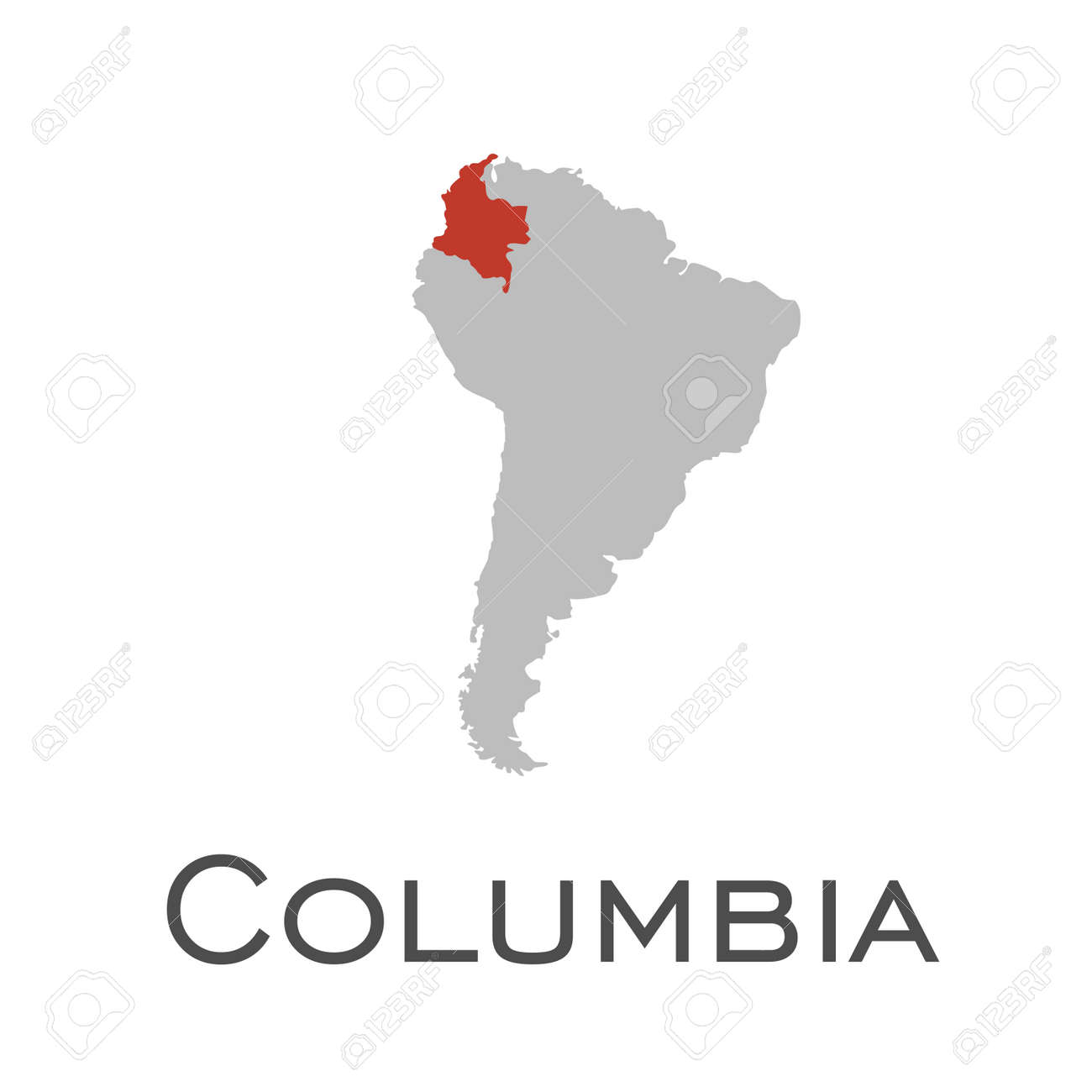 columbia and south american continent map royalty free cliparts