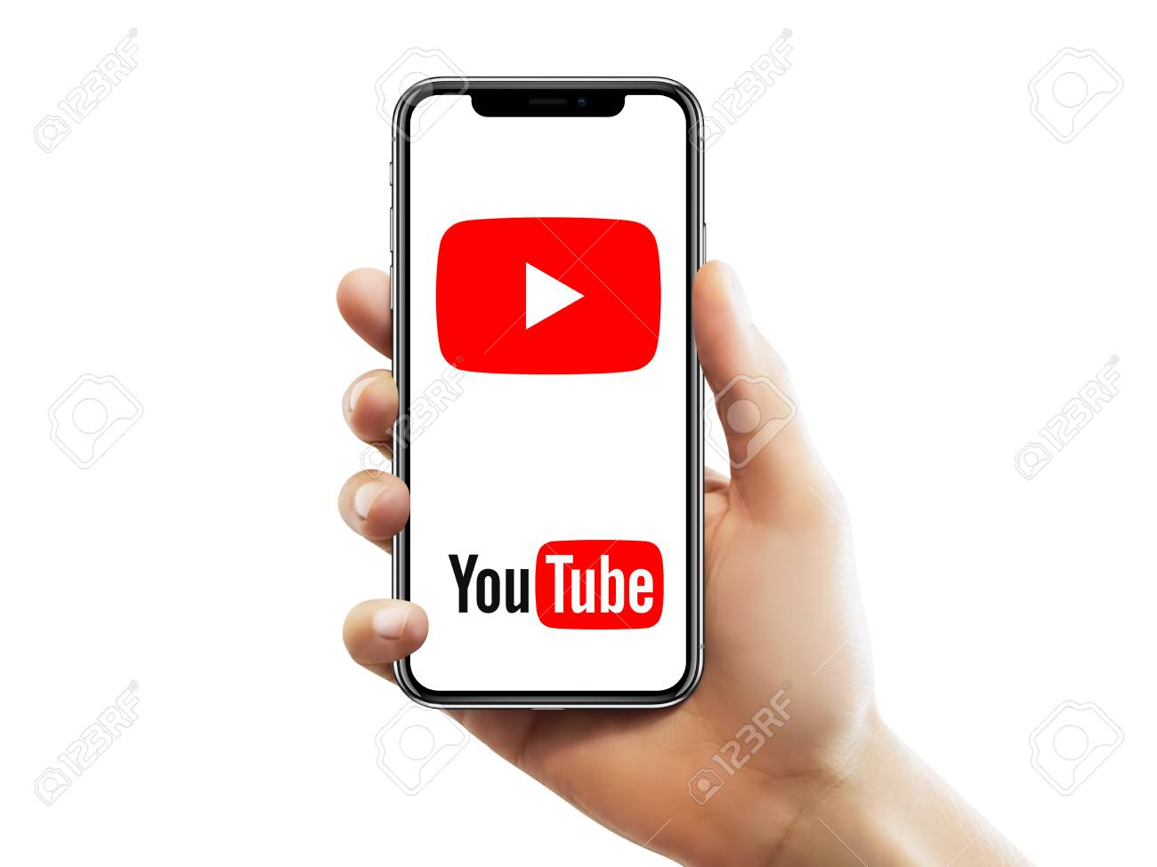 Istanbul May 10 2018 Apple Iphone X Screen With Youtube Logo