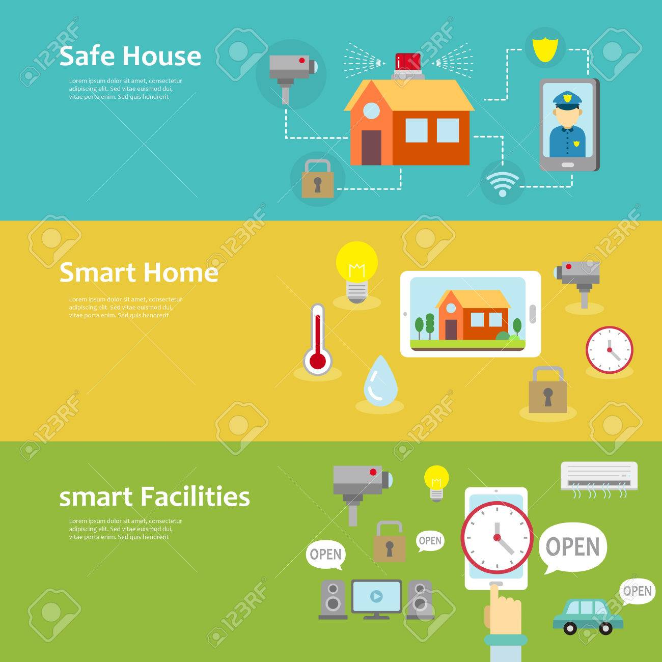 vector smart home and facilities concept banner set in flat design how to design a. Interior Design Ideas. Home Design Ideas