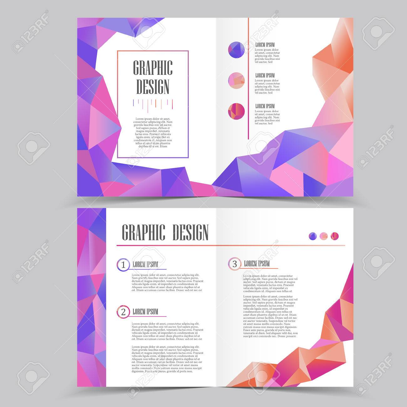Beautiful Half-fold Brochure Template Design With Crystal Elements ...