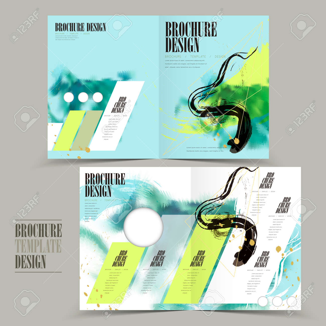 Modern Halffold Brochure Template Design With Attractive Brush - Half fold brochure template free