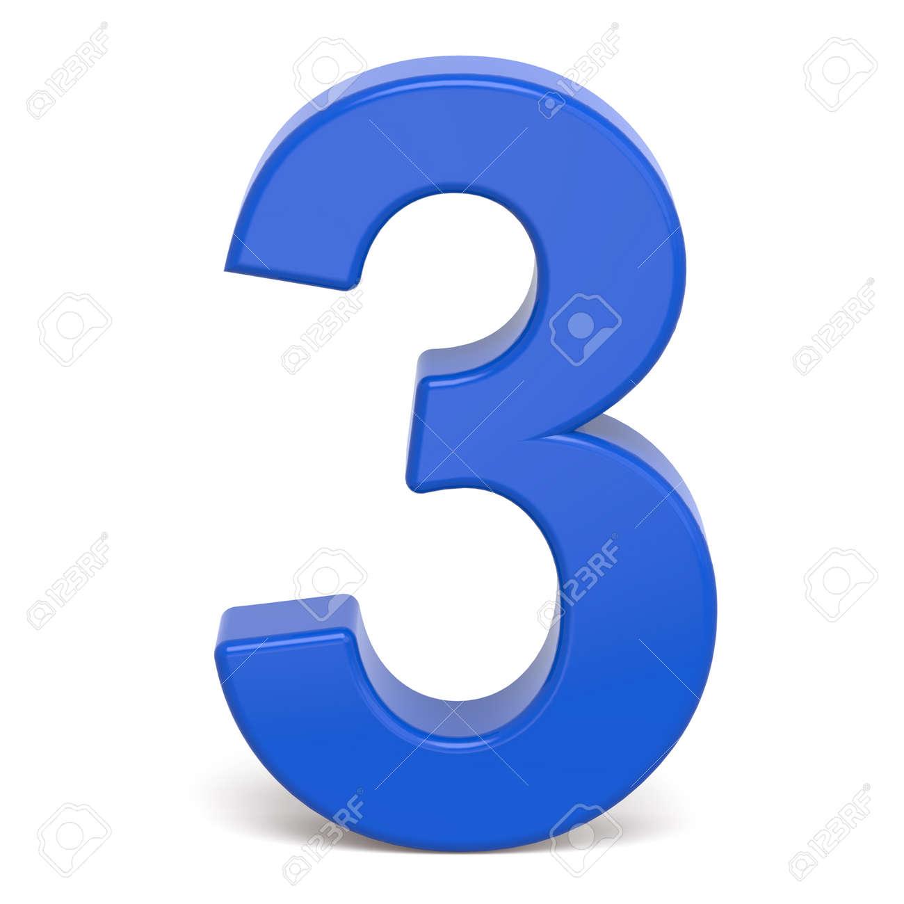3 D プラスチック青数 3 白い背景に分離 の写真素材・画像素材 Image ...