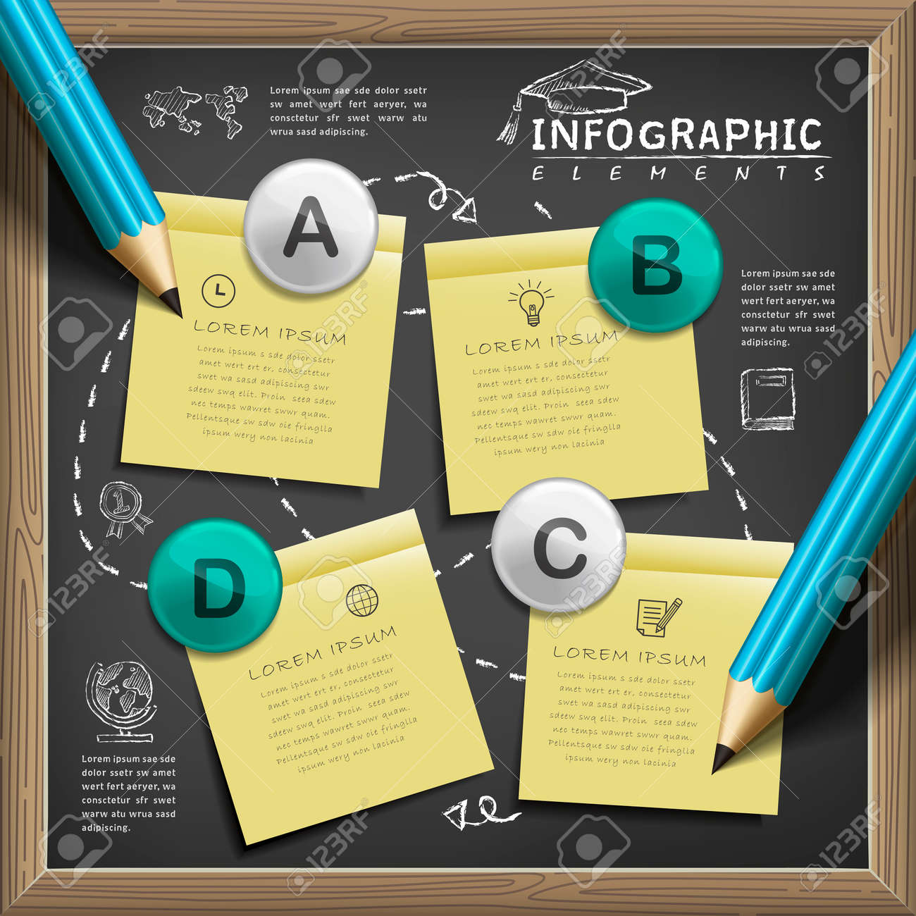 education infographic template design with chalkboard elements Stock Vector - 53128501