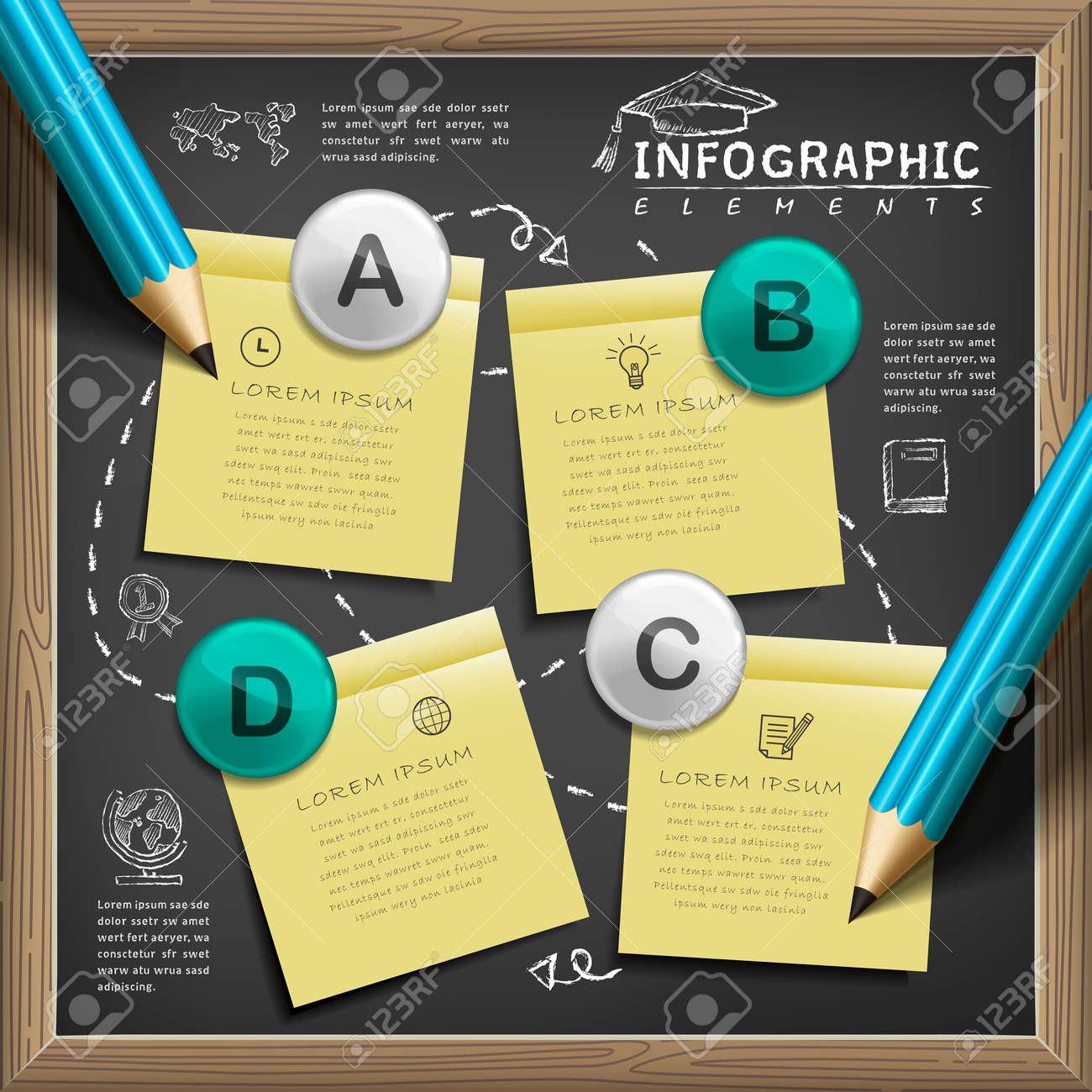 la enseñanza del diseño plantilla de infografía con los elementos de la pizarra Foto de archivo - 53128501