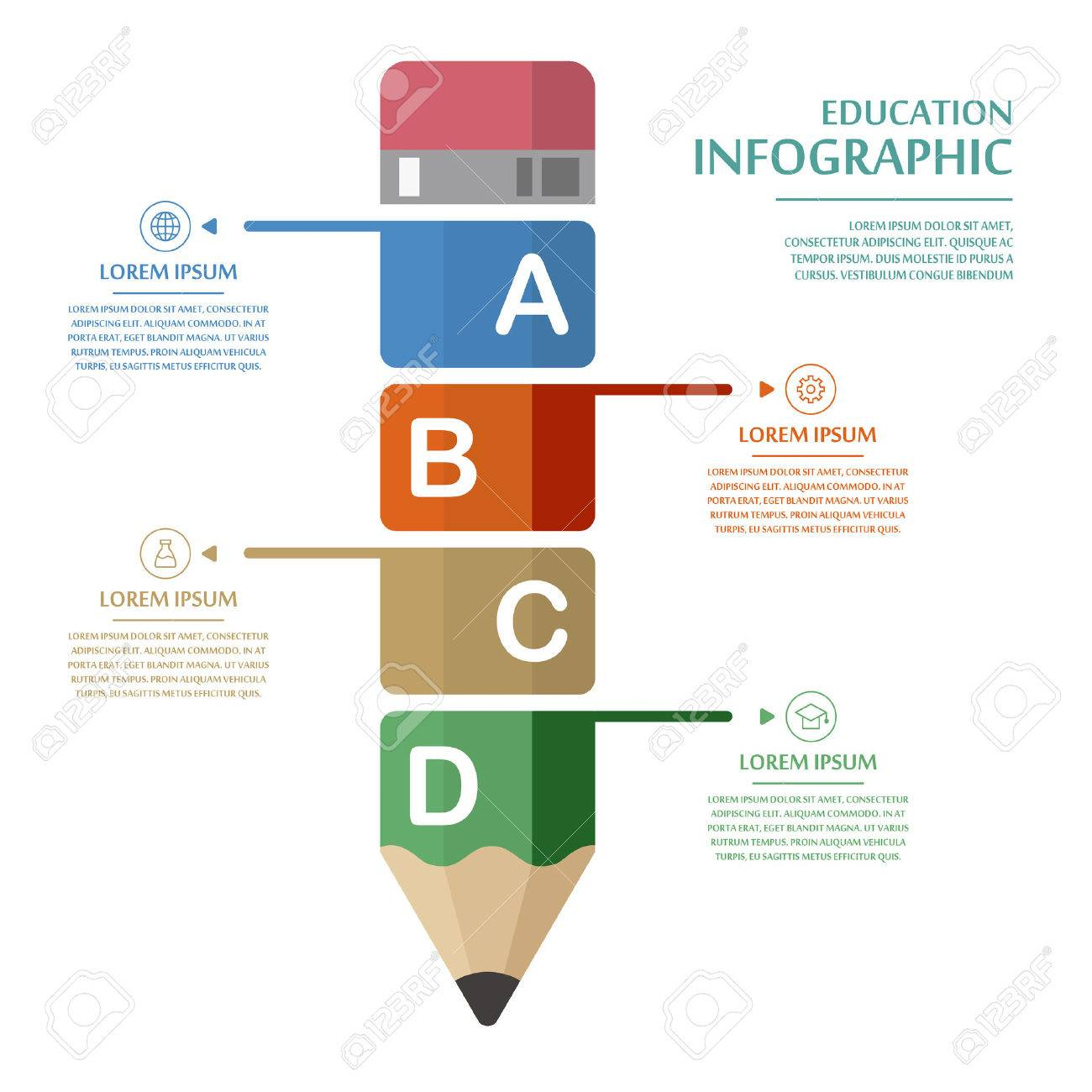 education infographic template design with pencil elements royalty