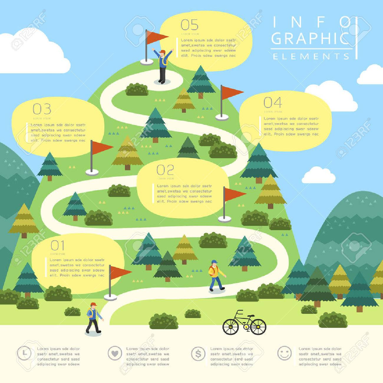 mountain hiking infographic template design in flat style Stock Vector - 53128304