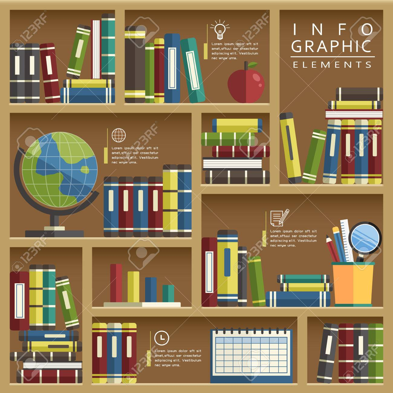 Education Infographic Template Design With Books And Bookshelf Stock Vector