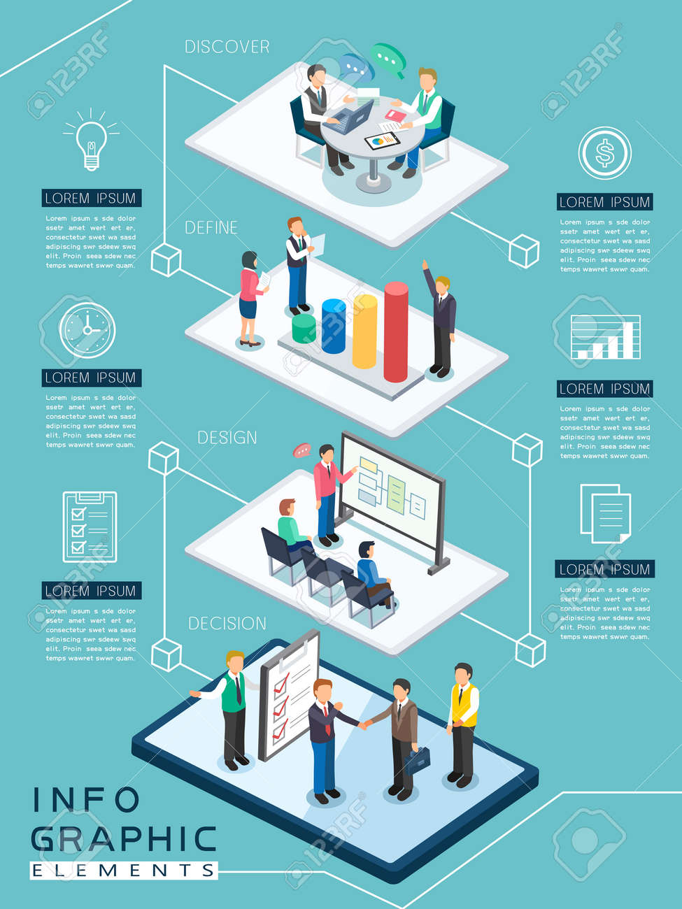 meeting process infographic template design in flat 3d isometric style Stock Vector - 53128174