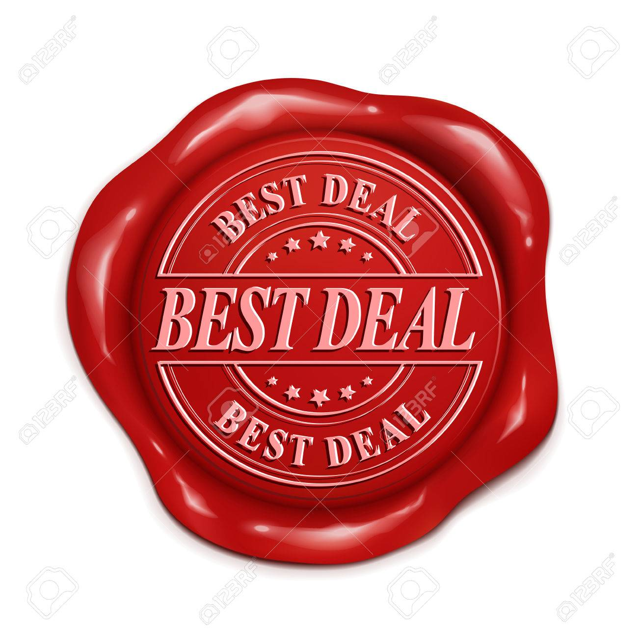 best deal 3d illustration red wax seal over white background royalty