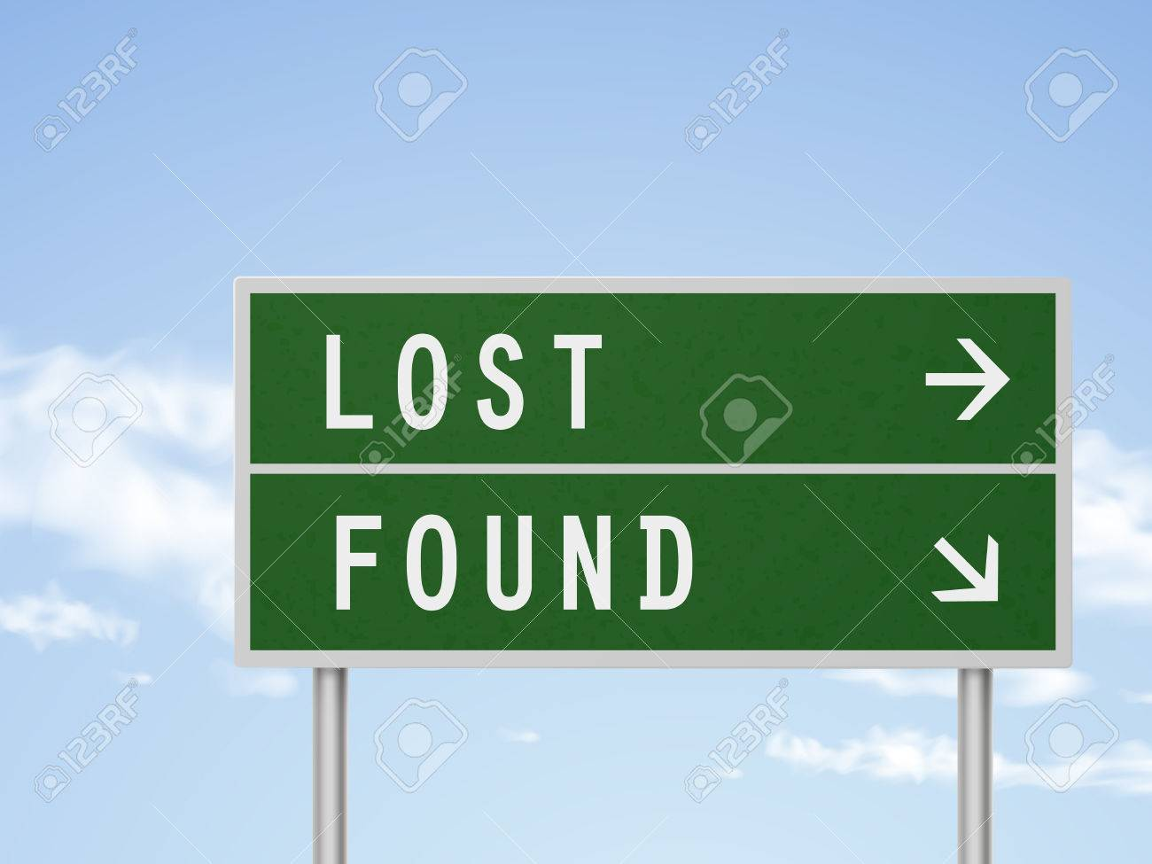 3d illustration road sign with lost and found isolated on blue