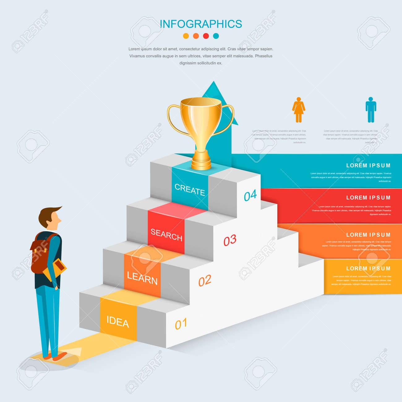 education infographic template design with stairs and growing