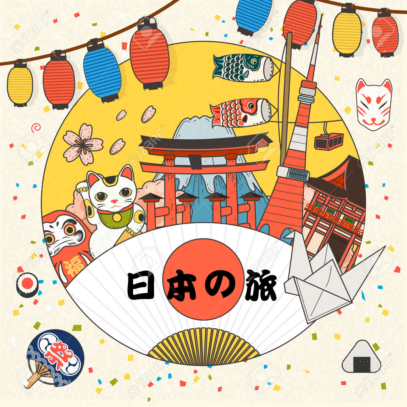 Poster design elements - Colorful Japan Tourism Poster Design With Cultural Elements Japan Travel In Japanese On The Fan