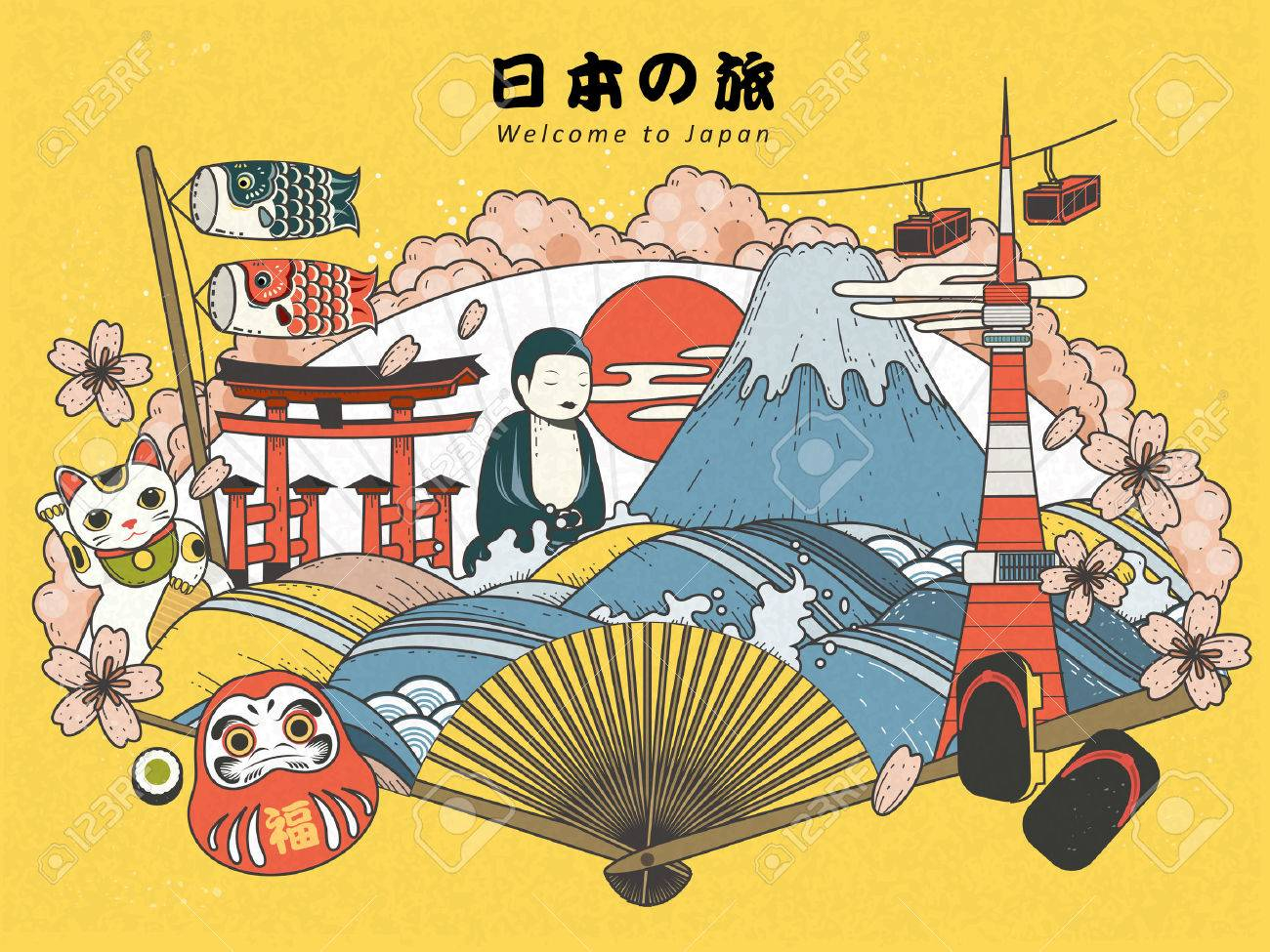 Japan Tourism Poster Design With Attractions Japan Travel In Royalty Free Cliparts Vectors And Stock Illustration Image 59302138