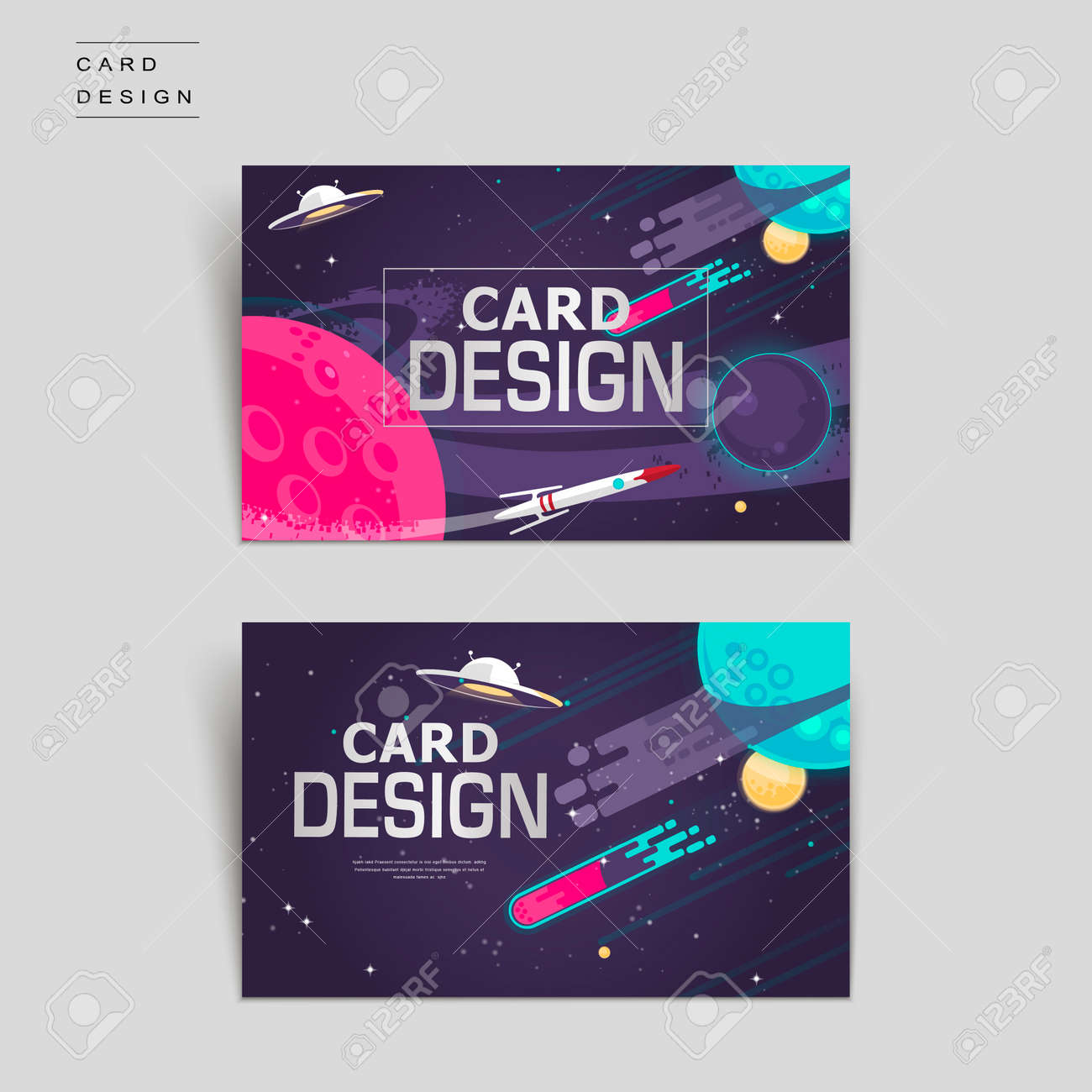 Cartoon Business Card Template Design With Outer Space Scenery ...