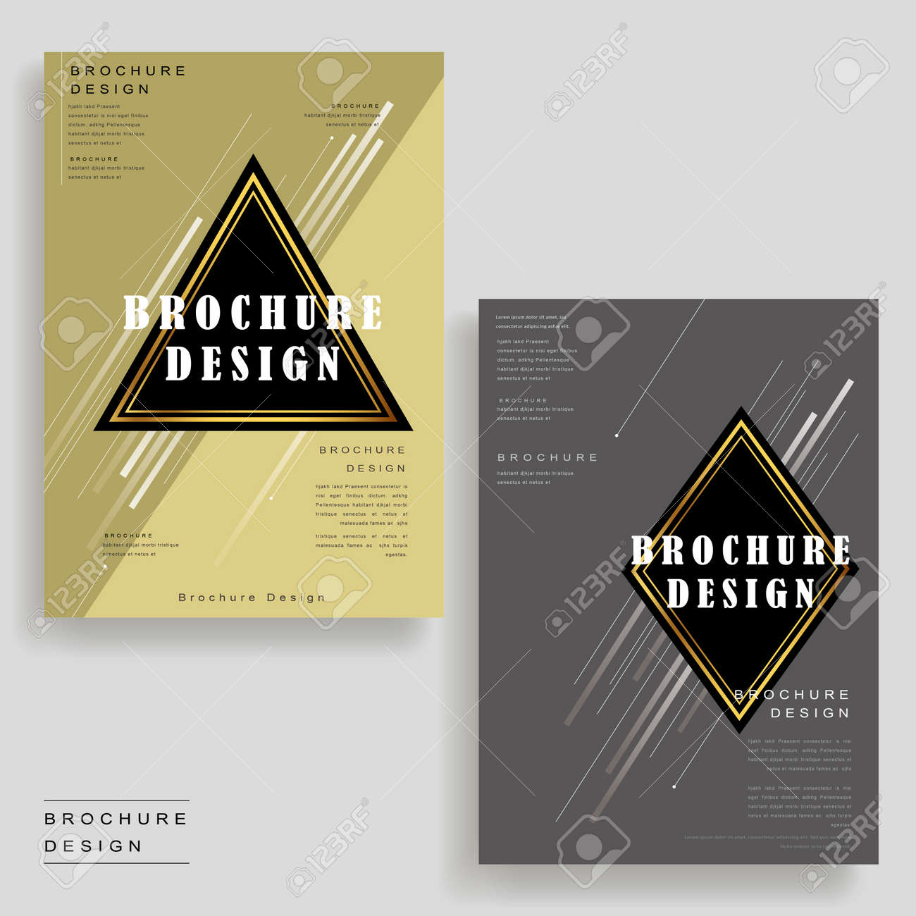 Elegant Brochure Template Design With Triangle And Rhombus Elements