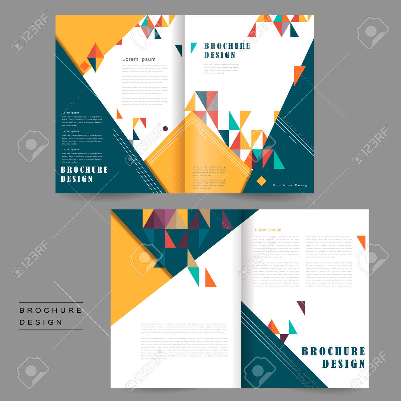 cheerful bi fold brochure template design with triangles element