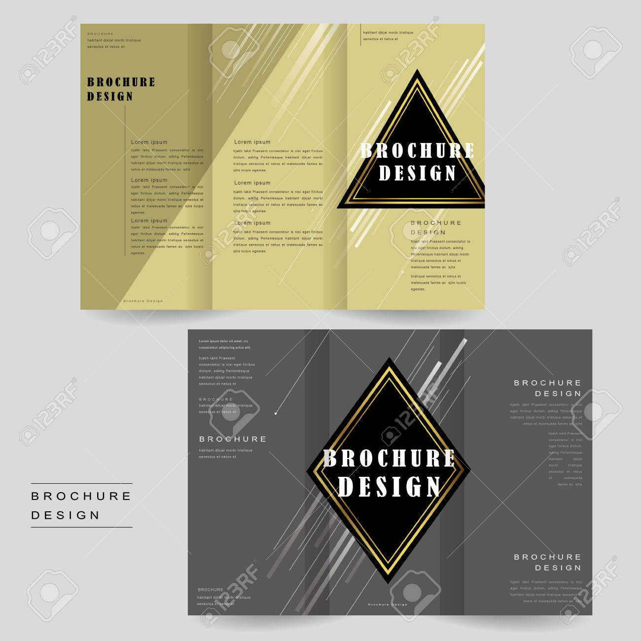 Elegant Tri Fold Brochure Template Design With Triangle And Rhombus
