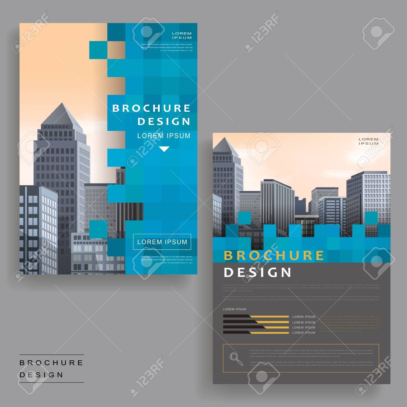 simplicity brochure template design with urban landscape and mosaic elements stock vector 61098559