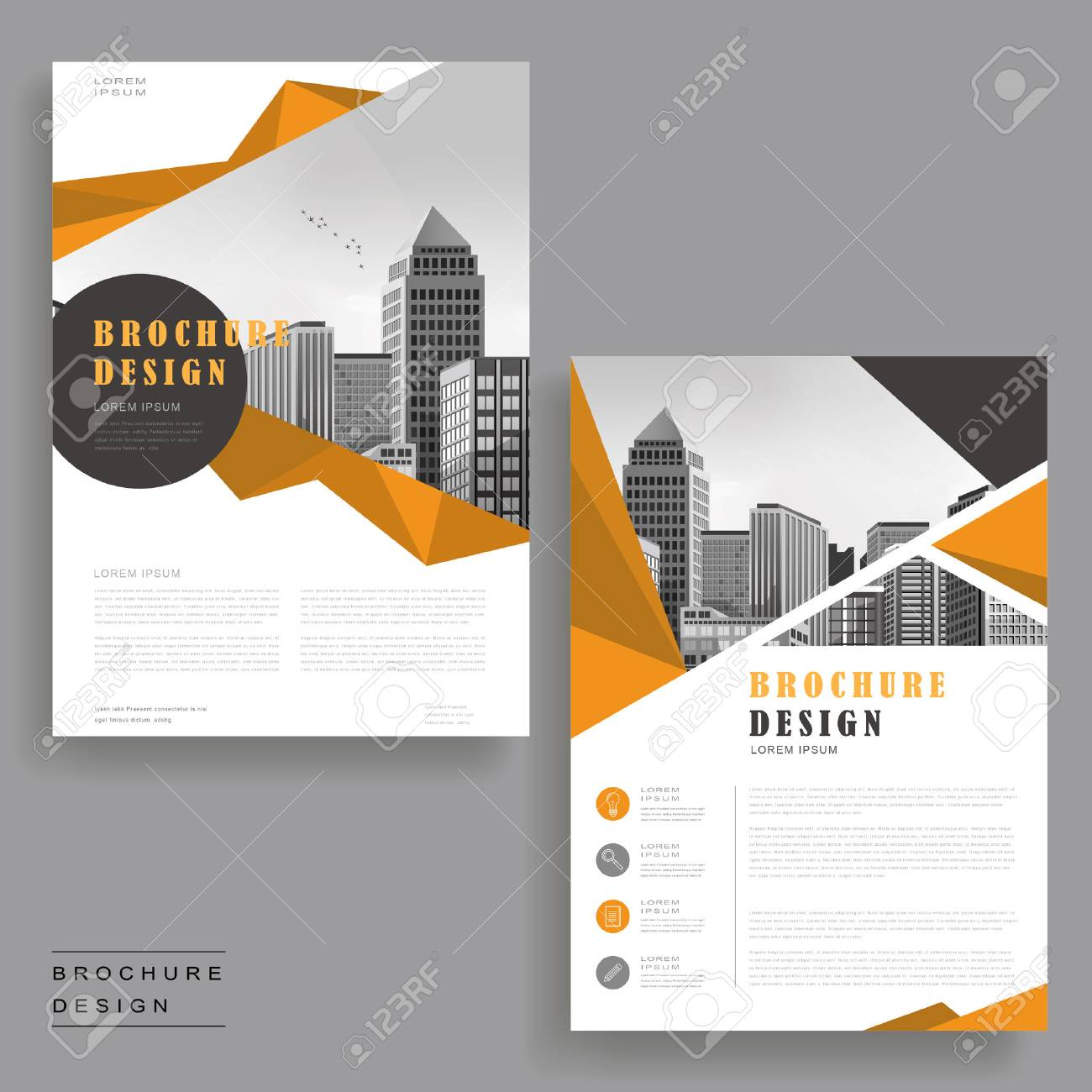 simplicity brochure template design with urban landscape and polygon elements stock vector 61098577 - Settlement Brochure Template