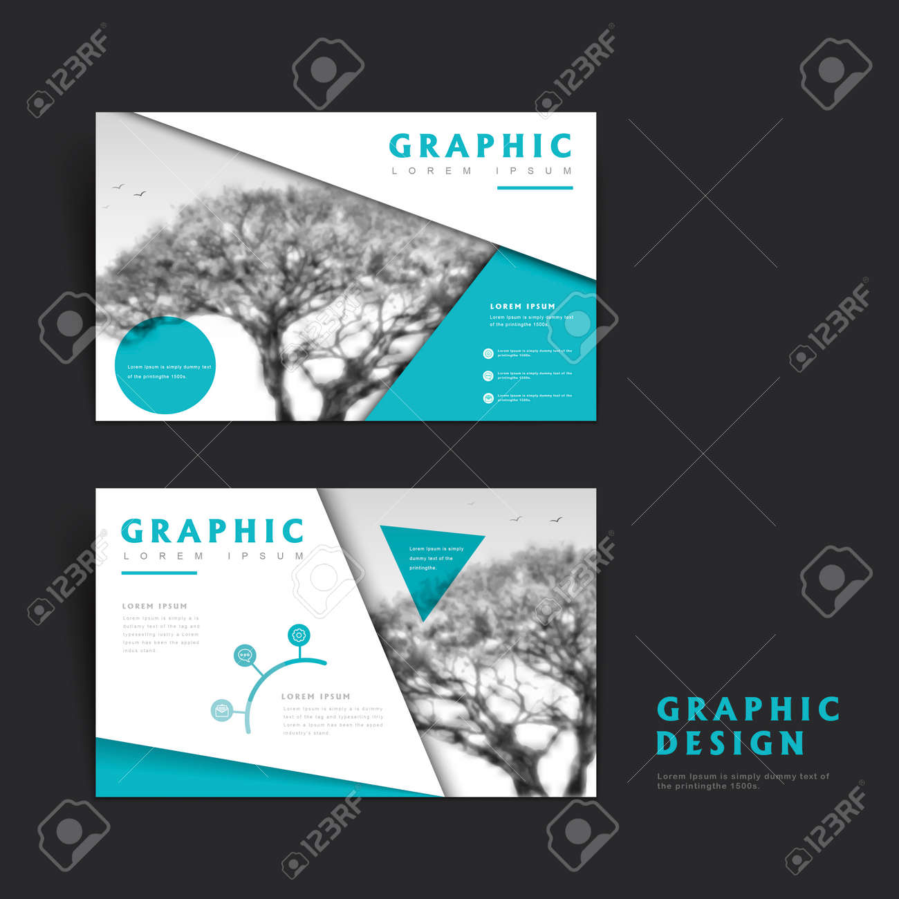 Elegant Brochure Template Design With Acacia Background Royalty Free
