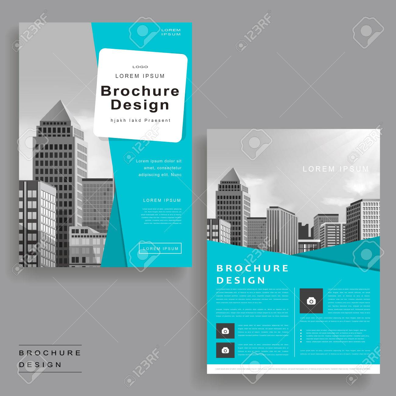 Modern Brochure Template Design With Urban Landscape Royalty Free - Modern brochure template