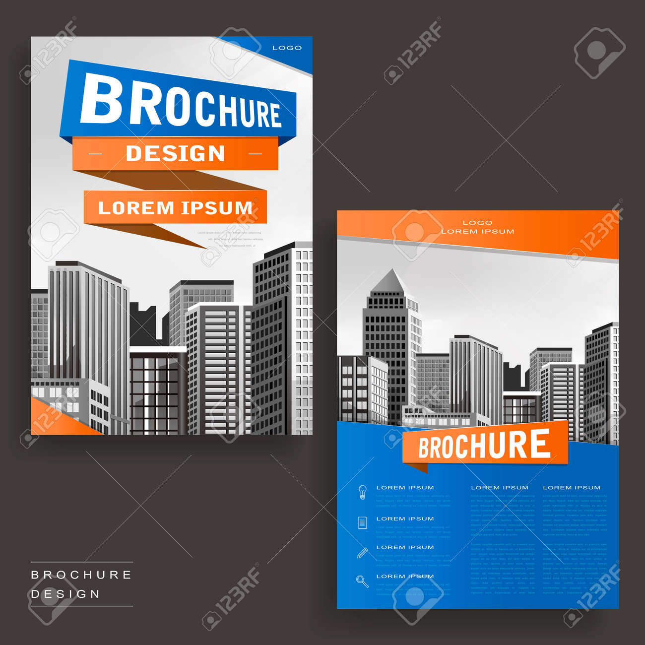 contemporary brochure template design with city landscape and geometric elements stock vector 61525656