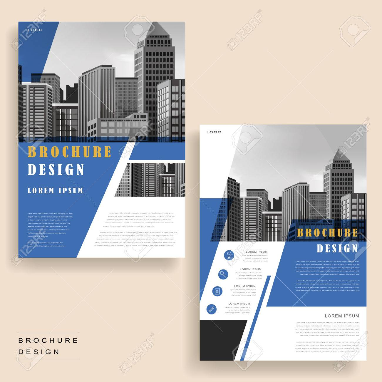 contemporary brochure template design with city landscape and geometric elements stock vector 61525914 - Settlement Brochure Template