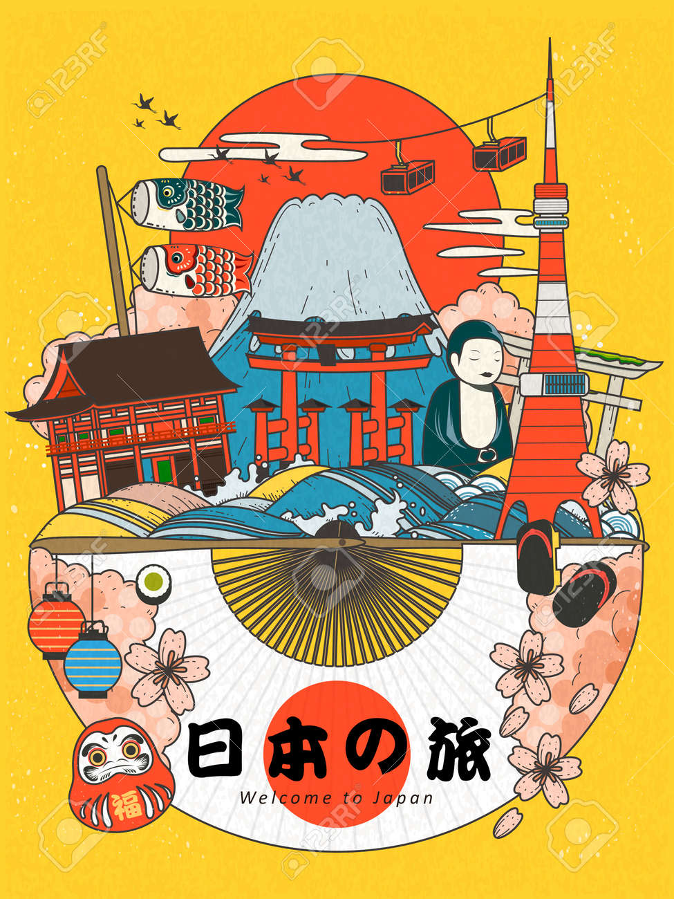 Lovely Japan Travel Poster Famous Attractions With Traditional Royalty Free Cliparts Vectors And Stock Illustration Image 62022426