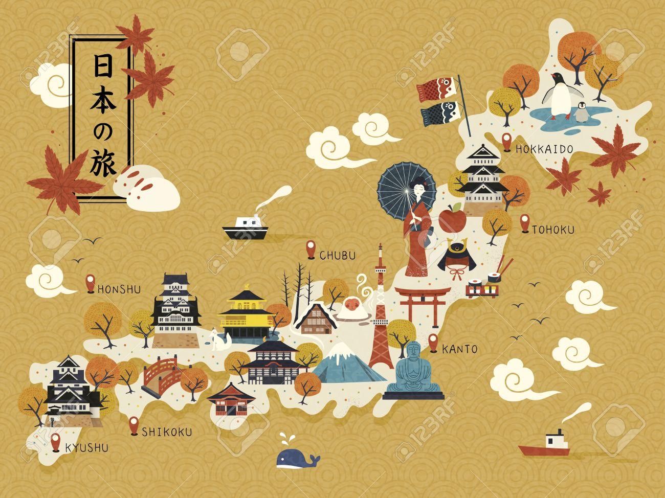 Japanese Travel Map Historical Landmarks On The Map Japan Travel - Japan map cartoon