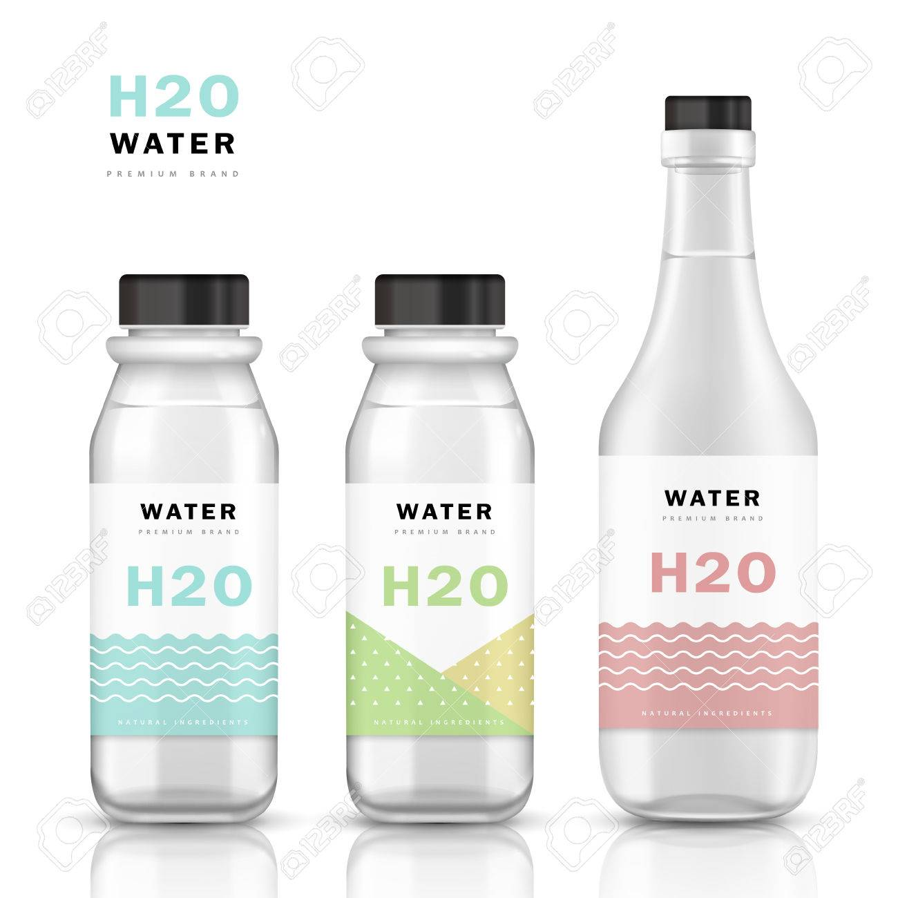 Trendy Water Bottle Template Mockup Template Design With Labels