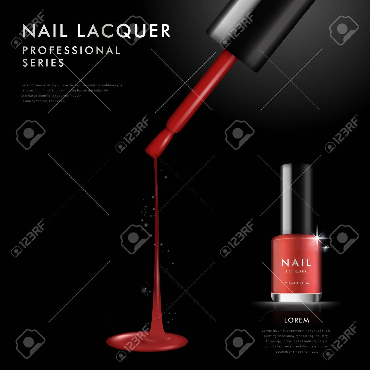 Elegant Red Nail Polish Ad Template, 3D Illustration Cosmetic ...