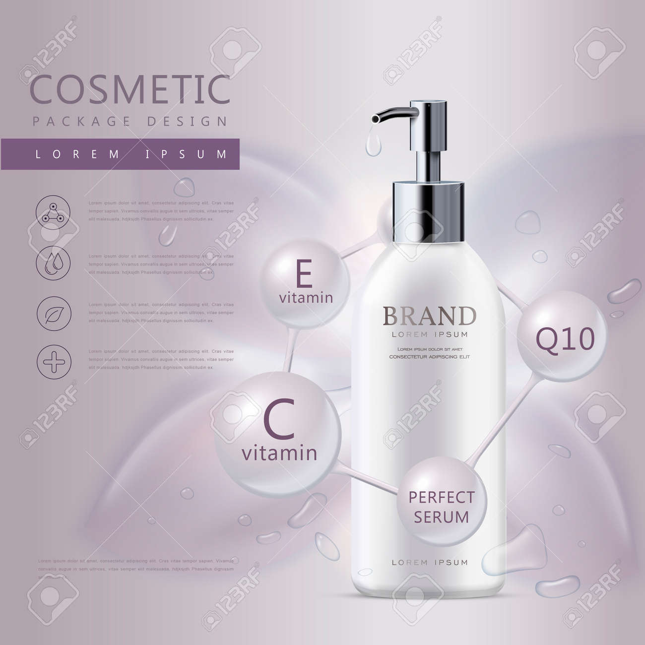 Cosmetic product poster, white liquid soap bottle with water drops isolated on purple background, 3D illustration - 63775705