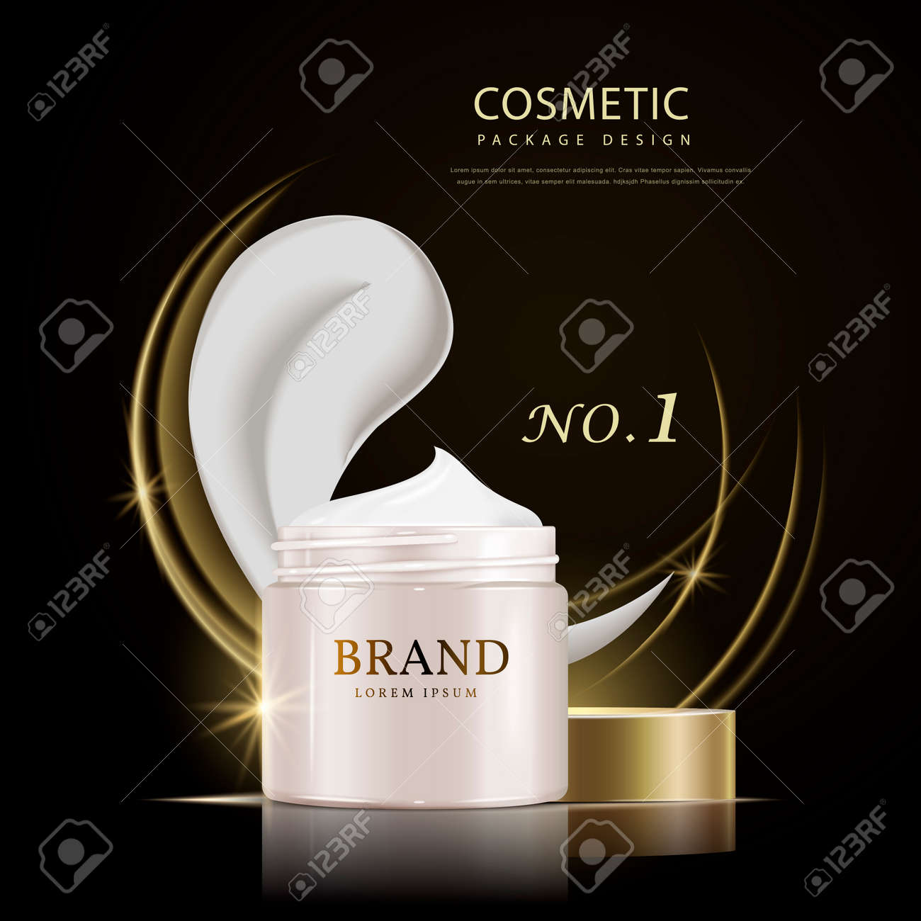 Poster design 3d - Cream Canister Poster Design 3d Illustration Realistic Cosmetic Canister Package Design Isolated On Black Background