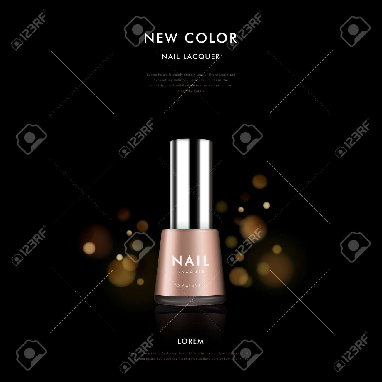 Elegant Nail Polish Ad Template, 3D Illustration Cosmetic Package ...