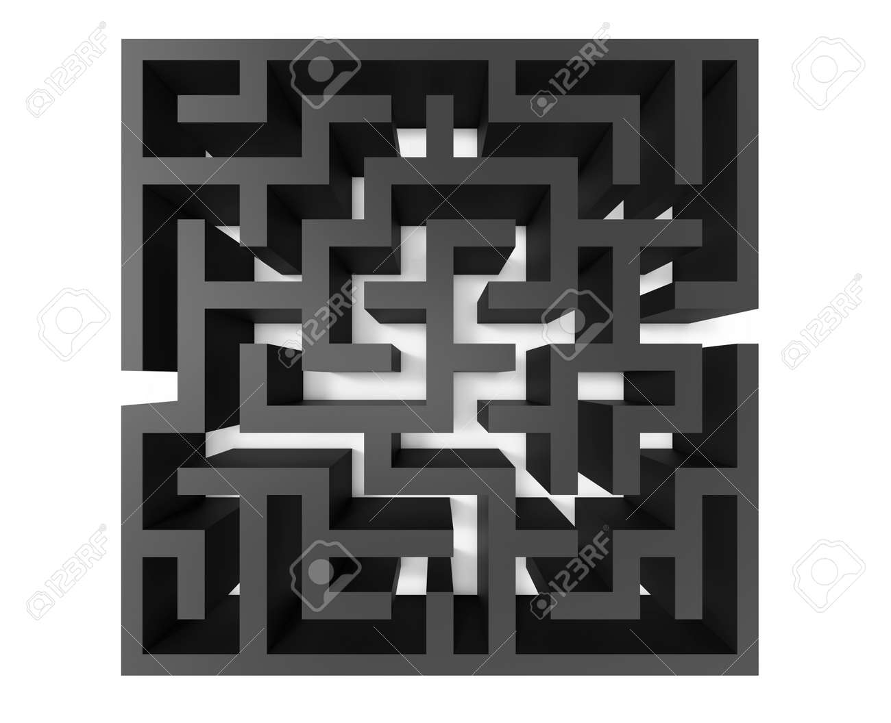 3d Rendering Maze, Top View Of Black Square Maze Template, Labyrinth ...