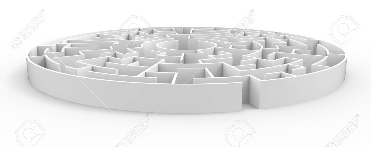3d Rendering Maze, White Round Maze Template, Labyrinth For Business ...