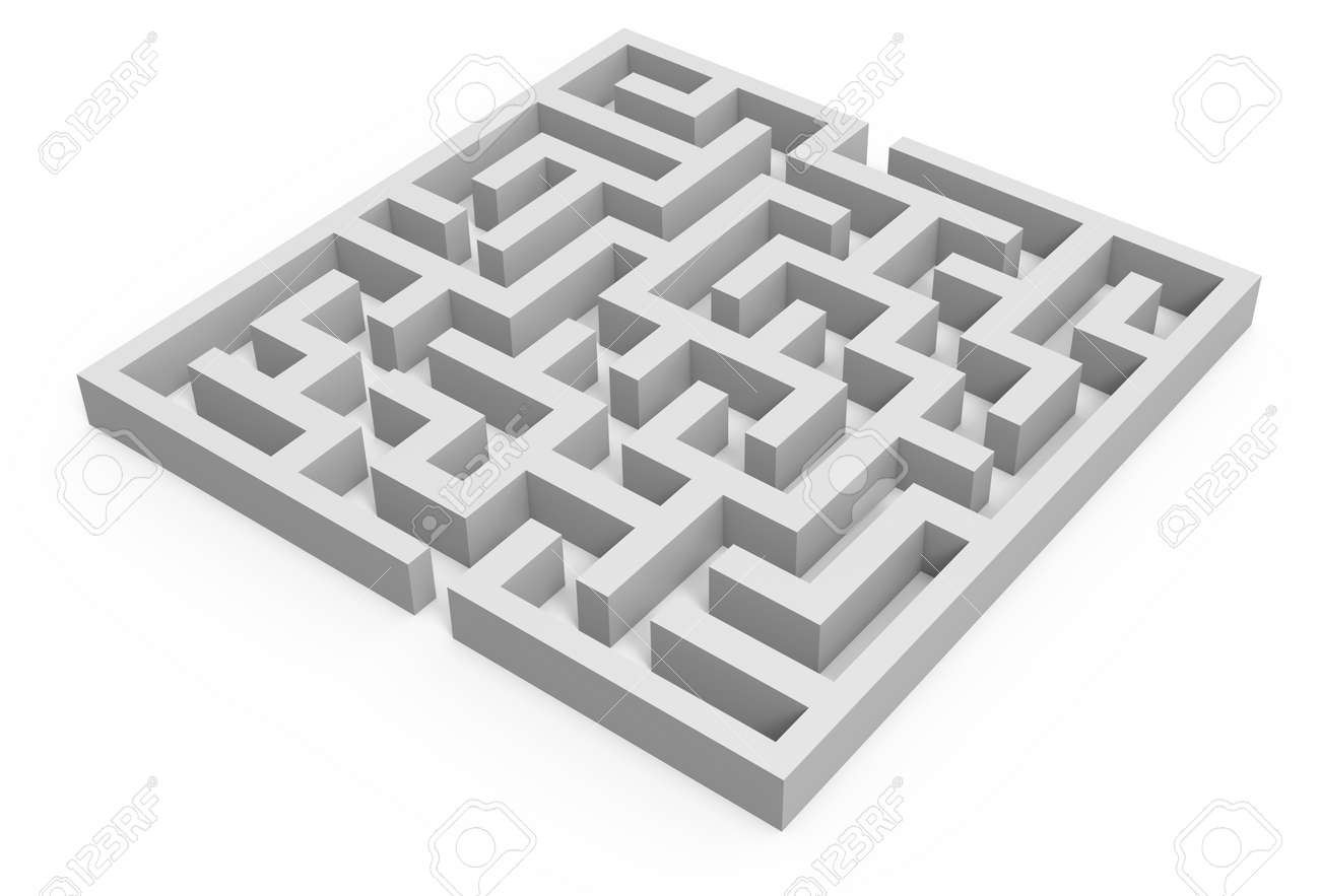 3d Rendering Maze, Blank Square Maze Template, Labyrinth For.. Stock ...