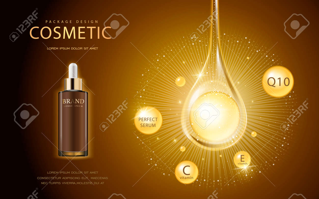 Cosmetic ads template, glass droplet bottle with essence oil drop isolated on brown background. 3D illustration. Q10, vitamin and other ingredients showing on the poster. - 65133322