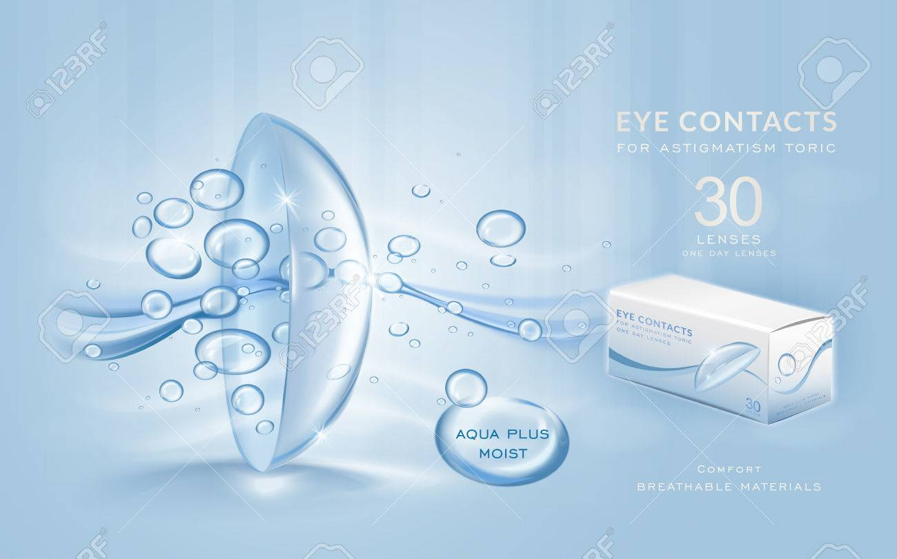 Eye contacts ads template, aqua plus contact lenses with water