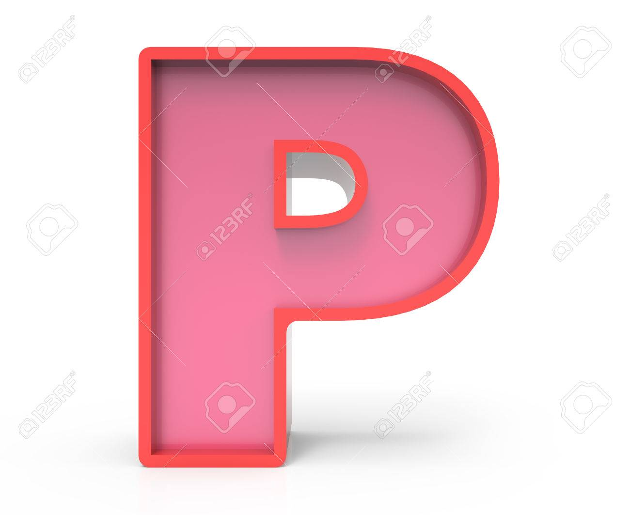 3d rendering red building block letter p isolated white background toylike alphabet for design stock