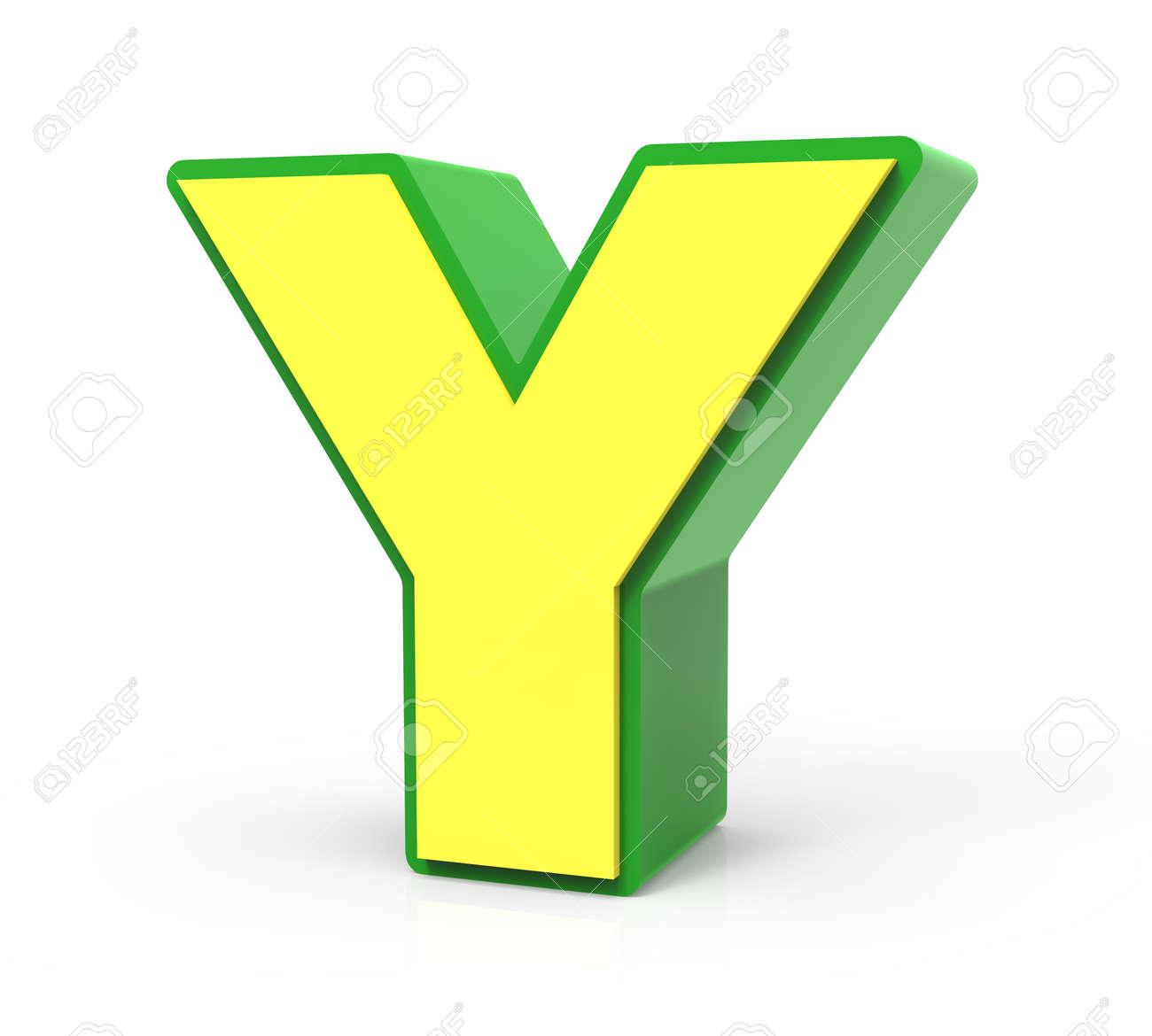 3D-Rendering Spielzeug Brief Y Isoliert Auf Weißem Hintergrund ...