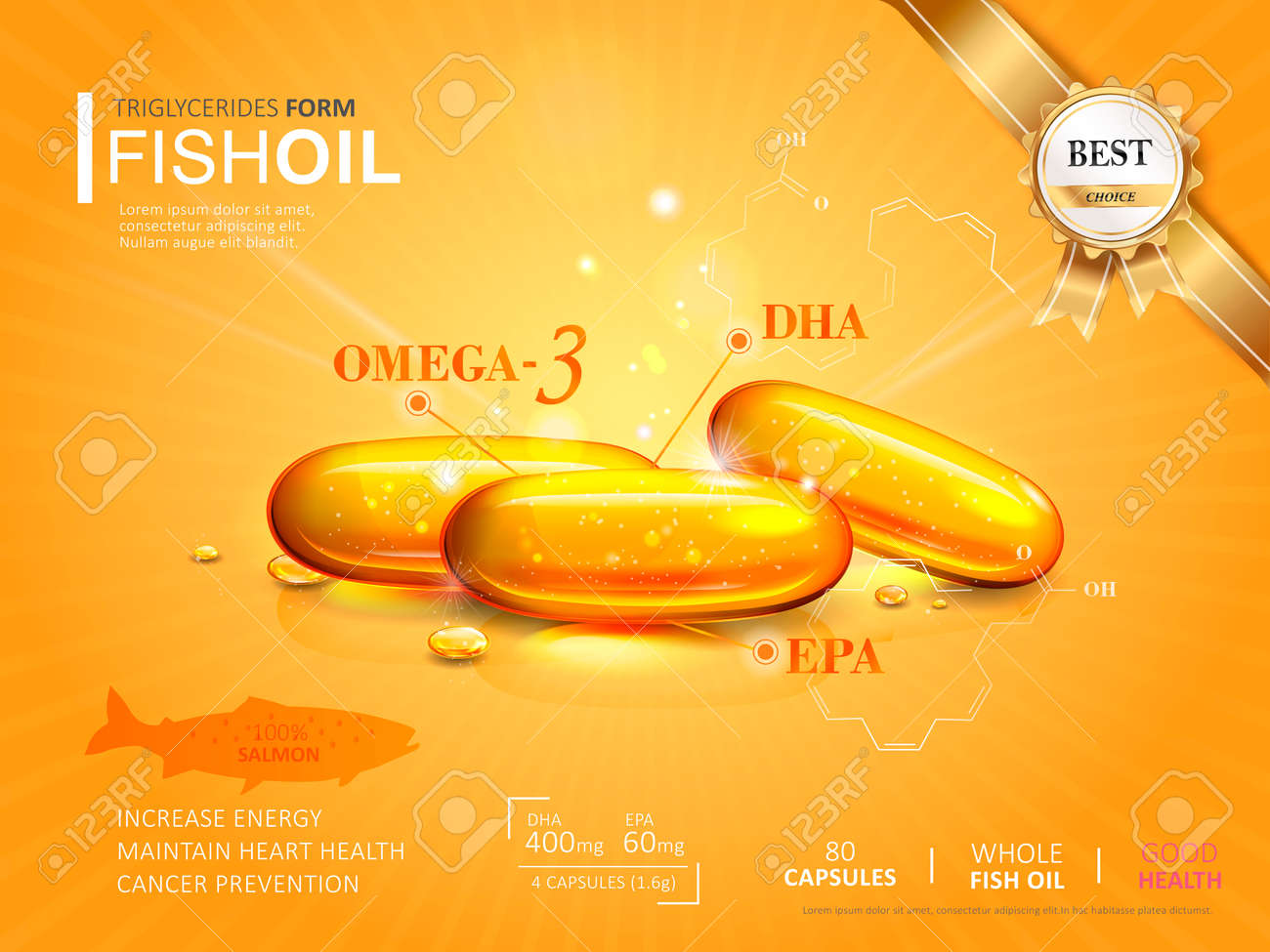 Fish Oil Ads Template, Omega-3 Softgel Isolated On Chrome Yellow ...